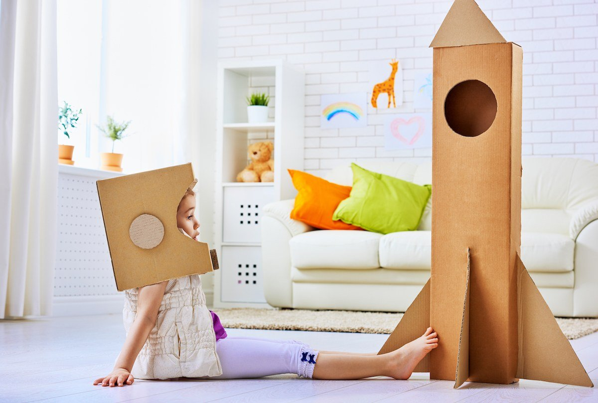 Indoor Fun for Kids - Cardboard Rocket