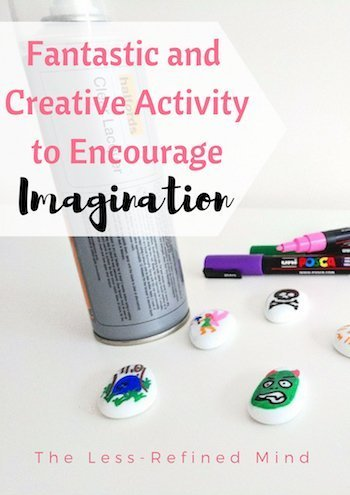 A fun and creative activity to encourage your toddler or preschoolers imagination and story-telling skills using story stones. #storystones #imagination #creativity #toddleractivity #preschooleractivity #storytelling