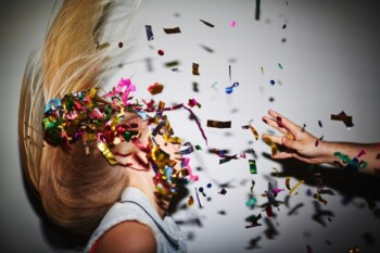 Falsely Accused of Bullying - Woman with Confetti