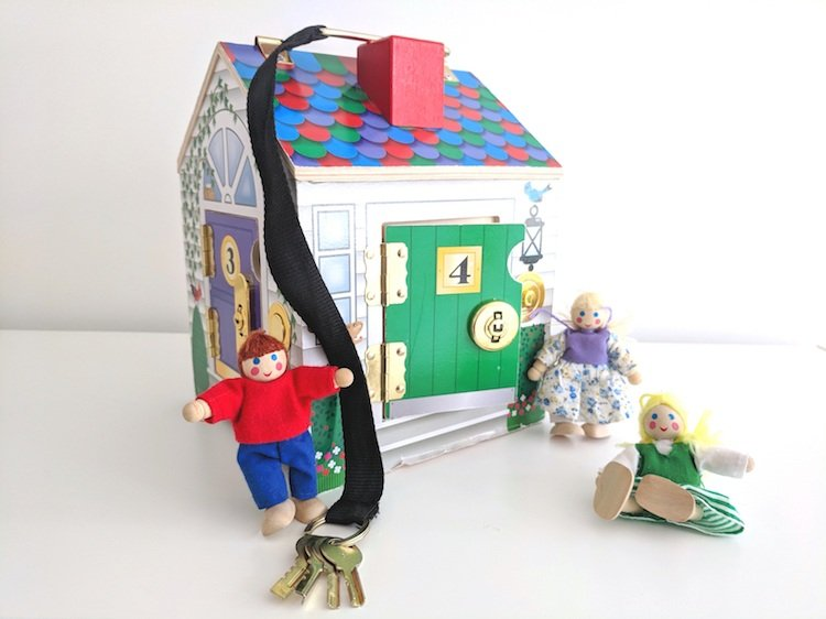 Educational Wooden Toys for Preschoolers - House With Locks and Keys