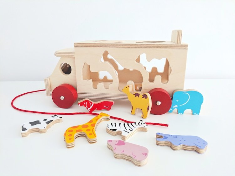 Wooden Toys for Babies - Zoo Truck