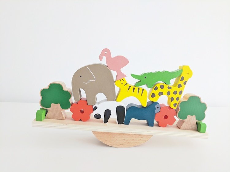 Wooden Toys for Preschoolers - Balancing Zoo Animals