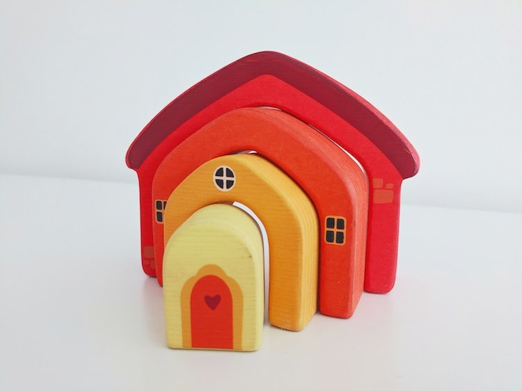 Simple Wooden House Stacking Toy