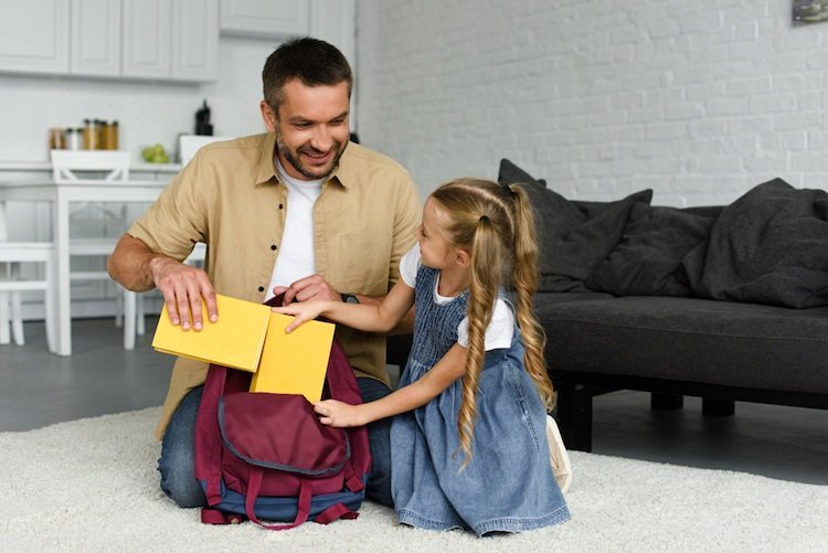 Back to School Hacks - Dad Helping Bag Daughter's School Bag