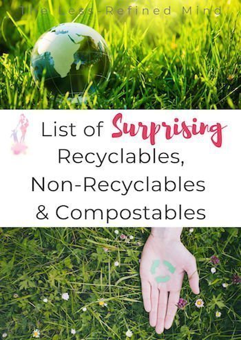 A list of surprising non recyclable materials, plus recyclables and items which can and cannot be composted. #sustainability #plasticfree #zeroplasticliving
