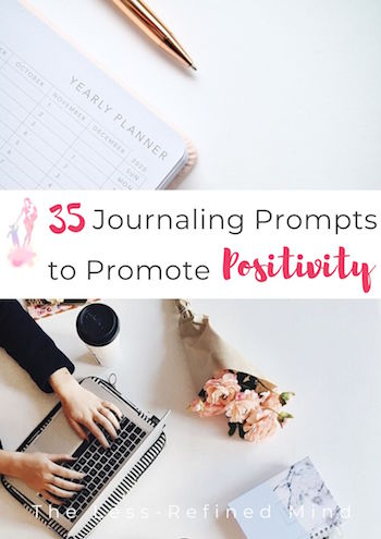 35 journaling prompts to promote optimism and positive mental health, pin.
