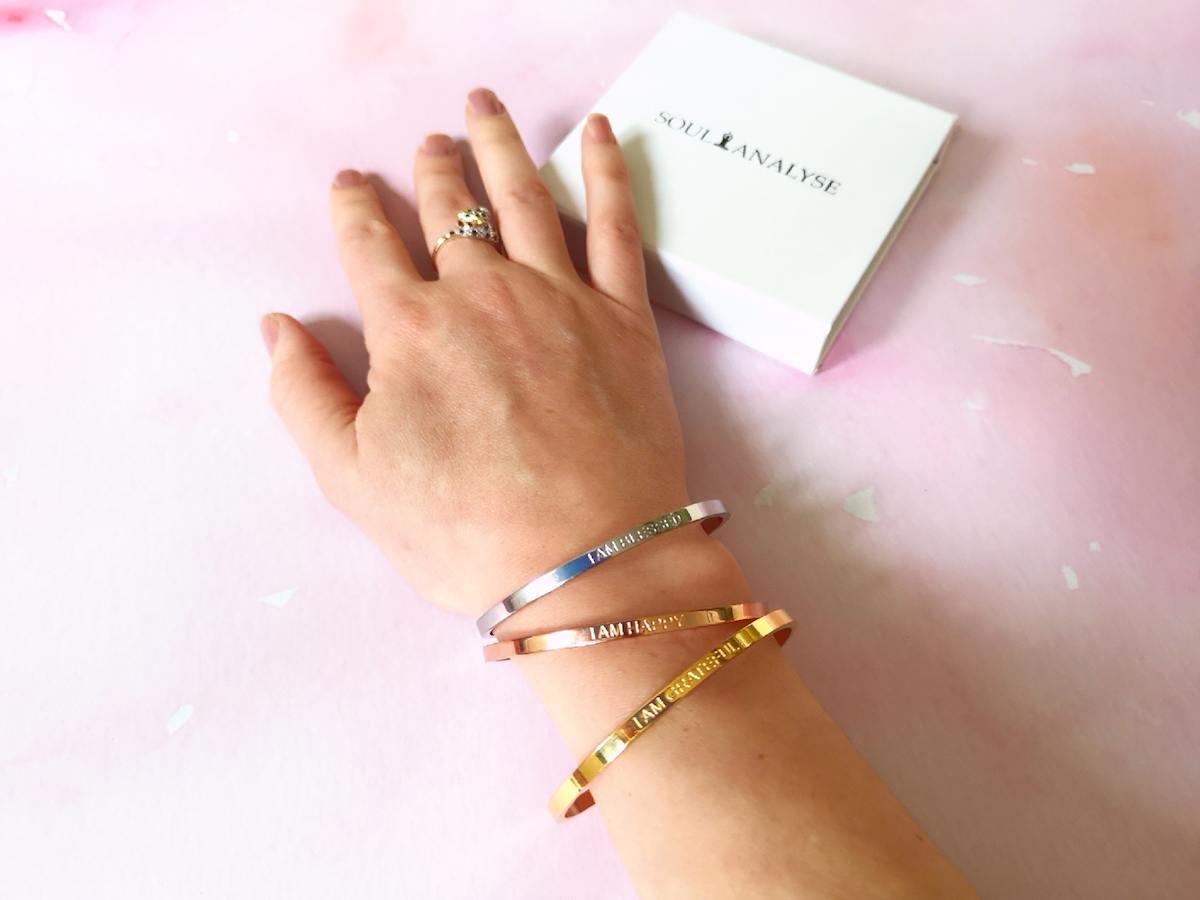Affirmation bracelets.