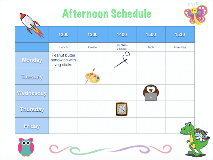 Customisable Kids Schedule Template