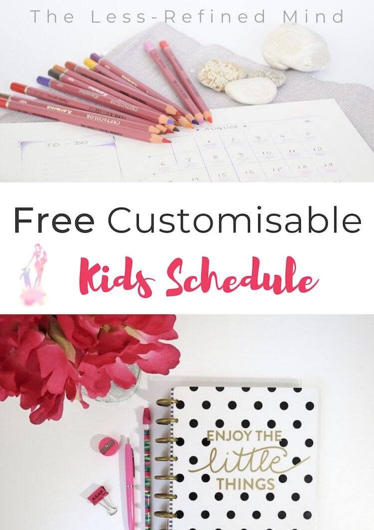 Fully customisable kids schedule template, showing daily and weekly routine for home education. Editable and downloadable kids planner. #planner #freekidsplanner #freekidsschedule #freekidsroutine #homeed #homeeducation