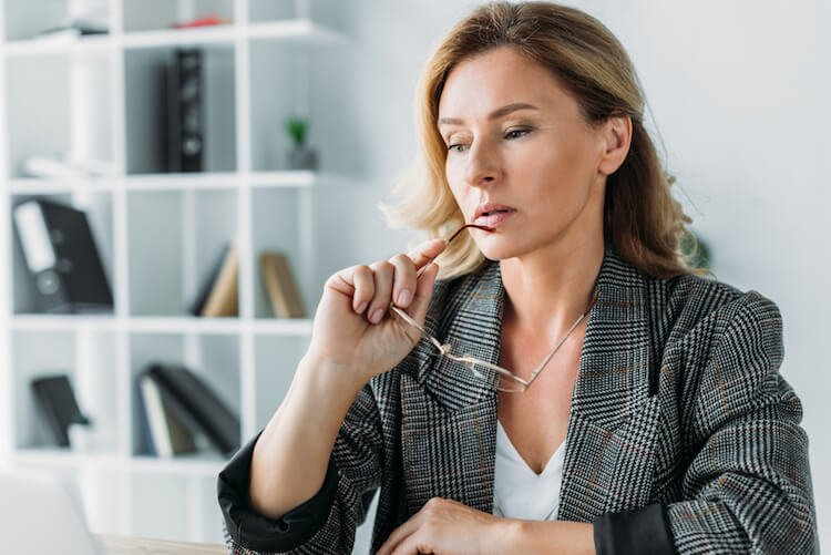 Worried Woman in Office
