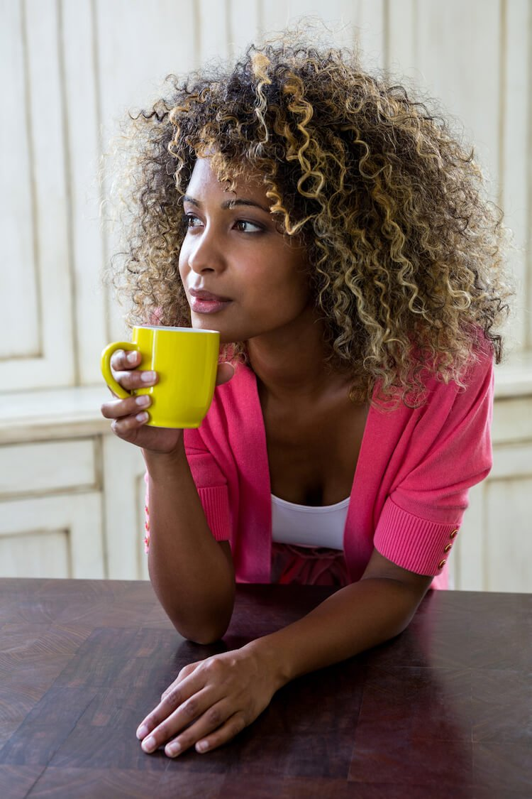Peaceful Woman Drinking Coffee