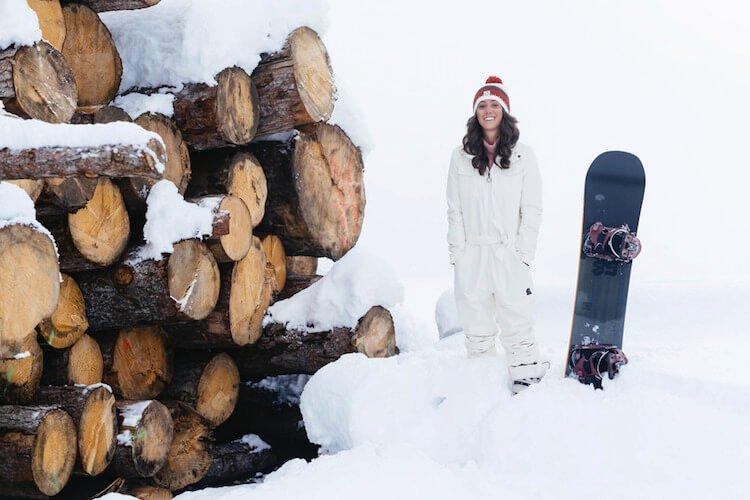 Woman Wearing Sustainable Ski Wear
