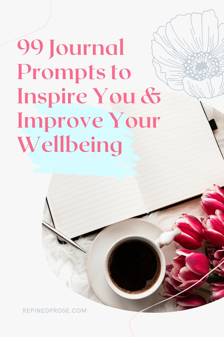 Journaling every day | Pin image shows a desk with an open notebook, flowers, and a cup of coffee.