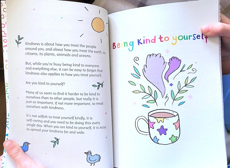 Book pages about being kind to yourself.