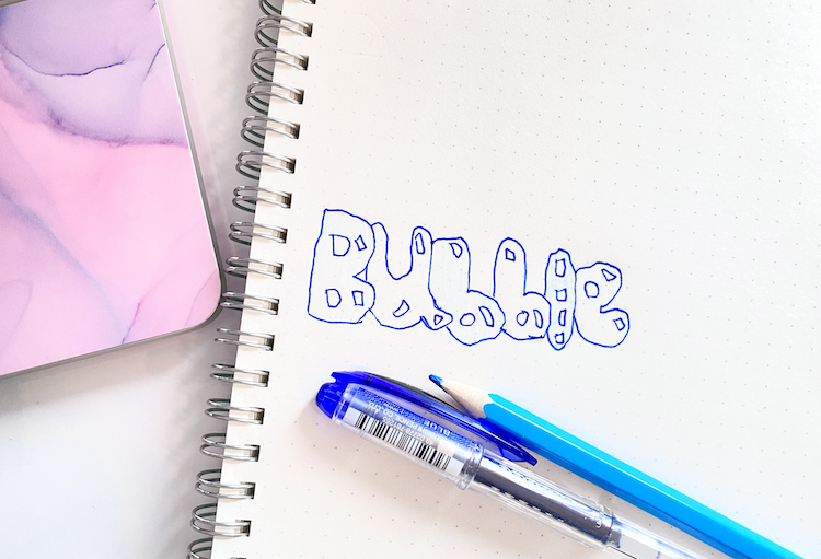 The word 'bubble' written in blue bubble font, with a blue pen and pencil next to it.