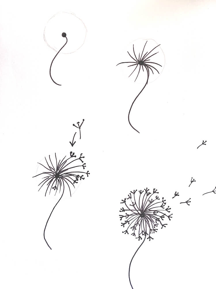 Dandelion bullet journal doodle