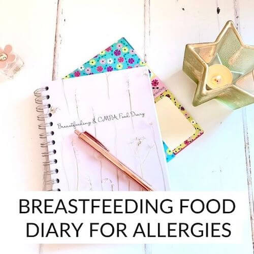 Image shows a breastfeeding food diary for allergies with a candle beside it.