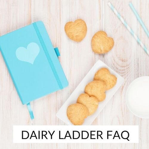 Dairy ladder | Image shows a clue diary beside a plat of biscuits and a glass of milk.