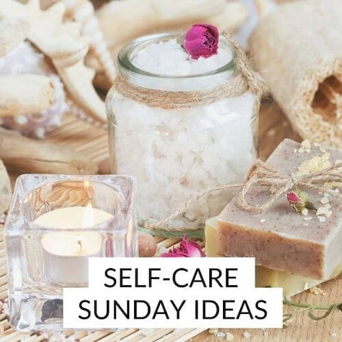 Self care Sunday ideas | Image shows pampering toiletry products and a candle.