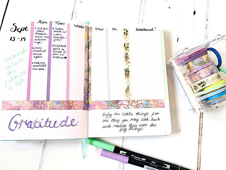 Bullet journal gratitude log.