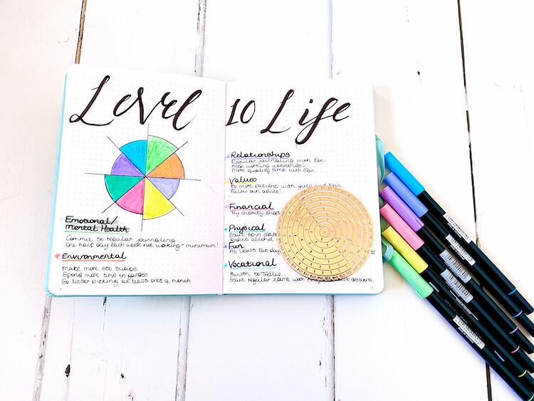 Level 10 life bullet journaling spread..
