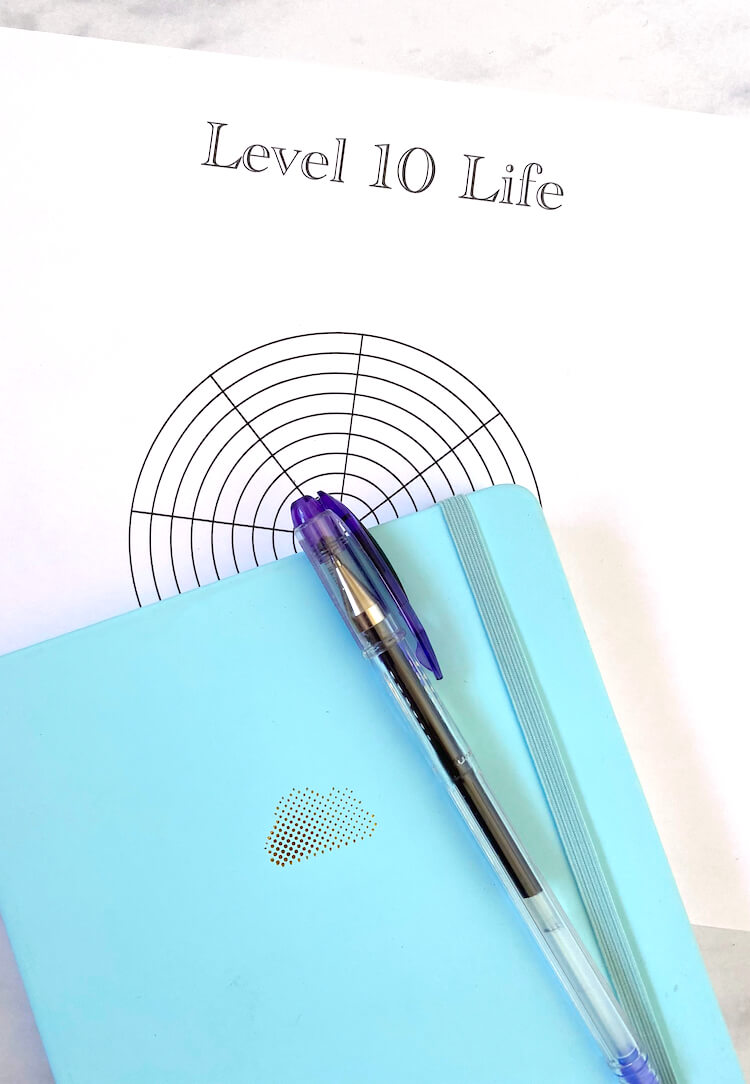 A level 10 life graph with a blue journal and purple pen stacked on top of it.