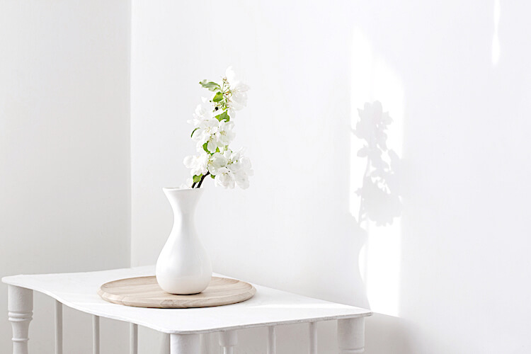 Simpler living | simpler life | Image shows a white vase of white flowers, on top of a white table.